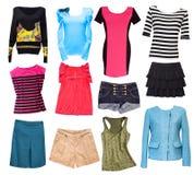 Modekvinnlign beklär collage Isolerad uppsättning för kvinnakläder Arkivbild