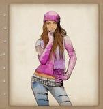 modekvinnlign skissar vattenfärg Royaltyfri Bild