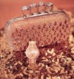 Modekvinnors tillbehör Lyxigt armbandsur och handväska med stren Fotografering för Bildbyråer