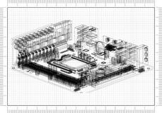Architect Blueprint. Shoot of the Architect Blueprint stock illustration
