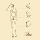 Model accessories sketch. Vector fashion model. Vector sketch silhouette. Vector vintage lady. Dress pencil sketch. Vector fashion outline. Vector style lady Royalty Free Illustration