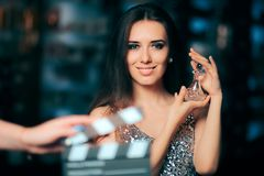 Model Acting in Perfume Commercial Ready to Film New Scene Stock Images