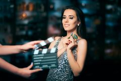 Model Acting in Perfume Commercial Ready to Film New Scene Royalty Free Stock Photography