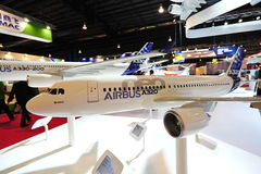Model of Airbus A320 Neo and A330 on display at Singapore Airshow Stock Image