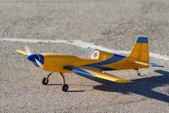 Model airplane. On takeoff runway Stock Photos