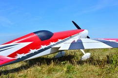 Model airplane on a background of blue sky Stock Images