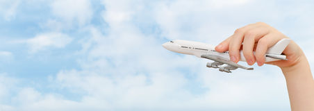 Model airplane on sky background. Royalty Free Stock Photography