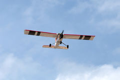 Model airplane stunt plane spinning stock image