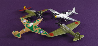 Model Airplanes. Four military airplane models Royalty Free Stock Image