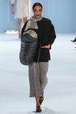 Model Aleah Morgan walks the runway wearing Carolina Herrera Fall 2015 Collection. NEW YORK, NY - FEBRUARY 16: Model Aleah Morgan walks the runway wearing stock photography
