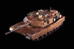 Model of the american battle tank Abrams. Black background royalty free stock photo