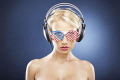 Model with American inspired accessories Stock Photography