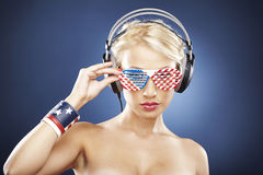 Model with American inspired accessories Stock Photo