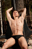 Model with the anchor. Muscled male model posing witht the anchor Stock Image