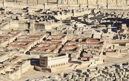 Model of Ancient Jerusalem Focusing on Two Palaces. Model of ancient Jerusalem at the time of the second temple. Including the Herodian Theater, Palace of High royalty free stock photo