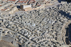 Model of Ancient Jerusalem Focusing on Upper City Homes. Model of ancient Jerusalem at the time of the second temple. Focusing on the homes in the Upper City and stock image