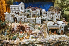 Model of an ancient settlement in the garden center Mondoverde. Stock Images