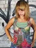 Model And Graffiti Wall Royalty Free Stock Photos
