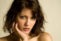 Model Anneliese. Attractive girl with naked shoulders Stock Image