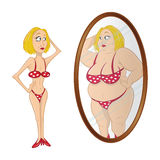 Model anorexic mirror. Cartoon illustration of a model anorexic mirror Stock Photos