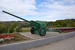 Model antichar 1941 de canon sur la place de mémoire dans Elabuga Le Tatarstan image libre de droits