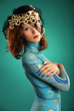 Model in Aqua bodypainting Royalty Free Stock Photography