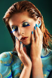 Model in Aqua bodypainting Stock Image