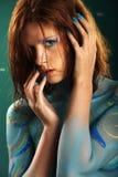 Model in Aqua bodypainting Stock Photo