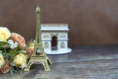 Model of Arch of Triumph and Eifel Paris France royalty free stock photo