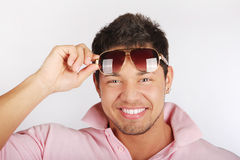 Model with athletic body posing in sun glasses Stock Photos