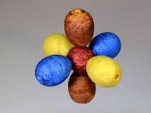 Model of an atomar nucleus with P orbitals. Model of an atomar nucleus red with pairwise colored P orbitals, the S orbitals have been omitted royalty free stock image