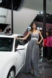 Model on Audi car Royalty Free Stock Photo
