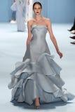 Model Auguste Abeliunaite walks the runway wearing Carolina Herrera Fall 2015 Collection Royalty Free Stock Image