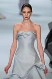 Model Auguste Abeliunaite walks the runway wearing Carolina Herrera Fall 2015 Collection Royalty Free Stock Photos