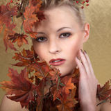Model in autumn style. Beautiful model in autumn style Royalty Free Stock Photography
