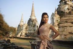 Model at Ayutthaya Temple Royalty Free Stock Photo