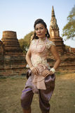 Model at Ayutthaya Temple Royalty Free Stock Image
