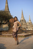 Model at Ayutthaya Temple Royalty Free Stock Photos