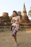 Model at Ayutthaya Temple Royalty Free Stock Photography