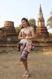 Model at Ayutthaya Temple Royalty Free Stock Photography