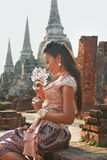 Model at Ayutthaya Temple Stock Photo