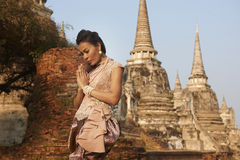 Model at Ayutthaya Temple Royalty Free Stock Photo