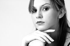 Model in B&W 7. Model in black on white royalty free stock photos