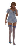 Model in babydoll nightdress and stockings Stock Image
