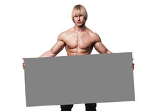 Model with a banner Royalty Free Stock Image
