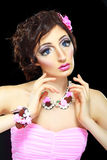 Model with barbie doll make-up Royalty Free Stock Photography