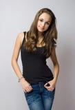 model barn för härlig jeans royaltyfria foton