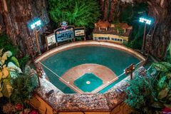 Frederik Meijer Gardens - Grand Rapids, MI /USA - December 18th 2016: Model of the a baseball field  in the train garden at the Fr