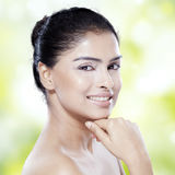 Model with beautiful face and black hair Stock Photo