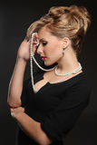 Model with beautiful hair with beads Royalty Free Stock Photo